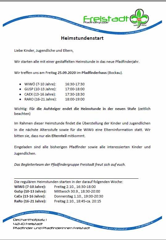 Gemeinsamer HEimstundenstart PG Freistadt 2020
